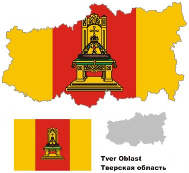 outline map of Tver Oblast with flag