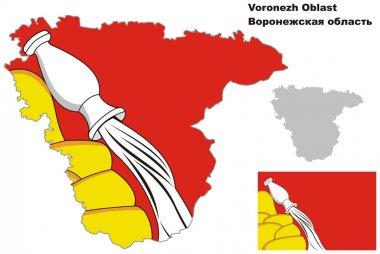 outline map of Voronezh Oblast with flag