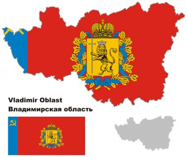 Outline map of Vladimir Oblast with flag