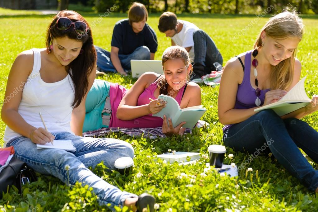 Teens studying in park reading book students