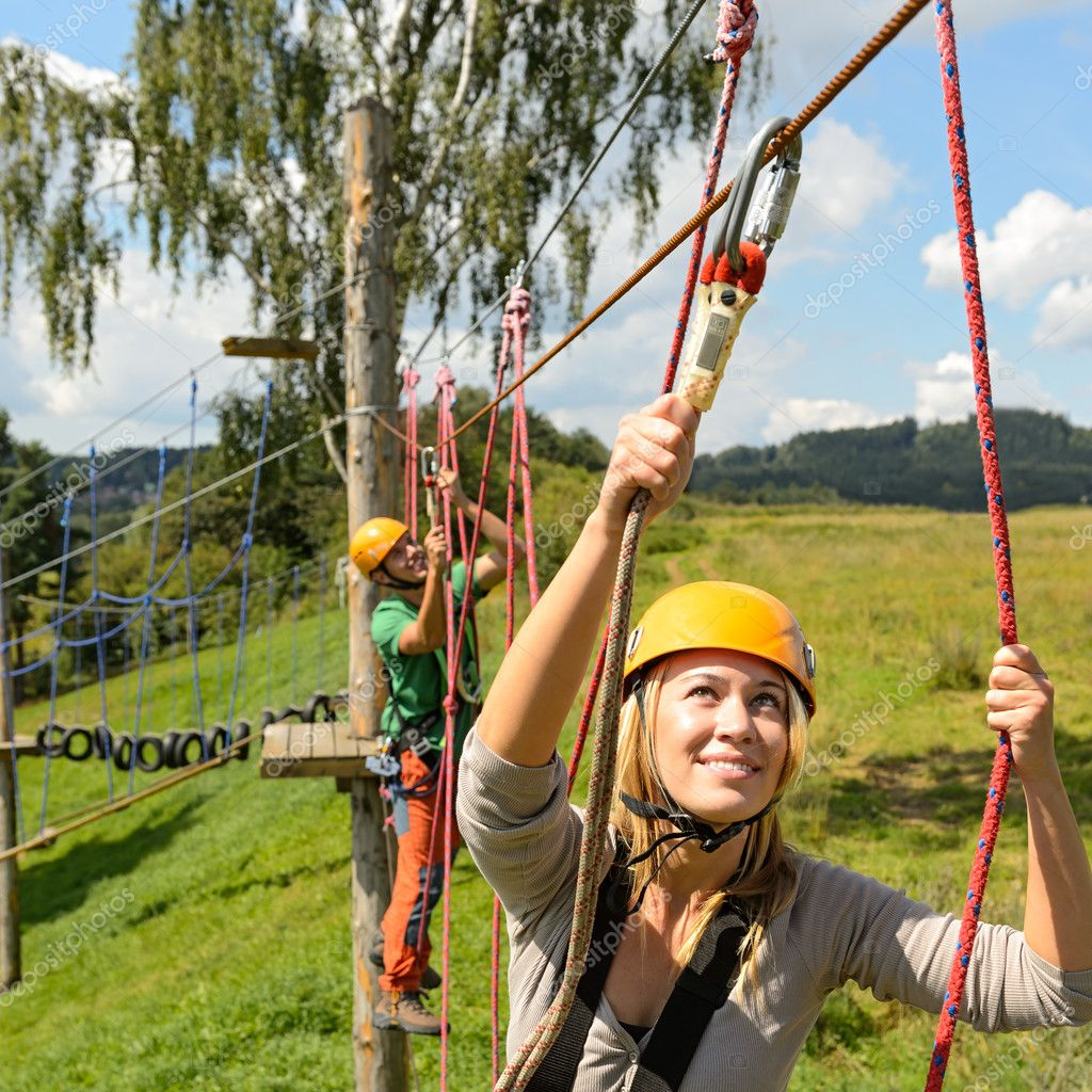 with ropes in adventure park