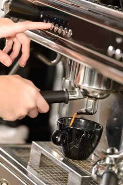Close up coffee making with espresso machine