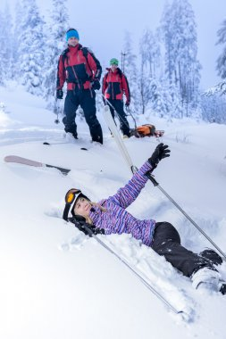 Ski patrol rescue injured skier after accident