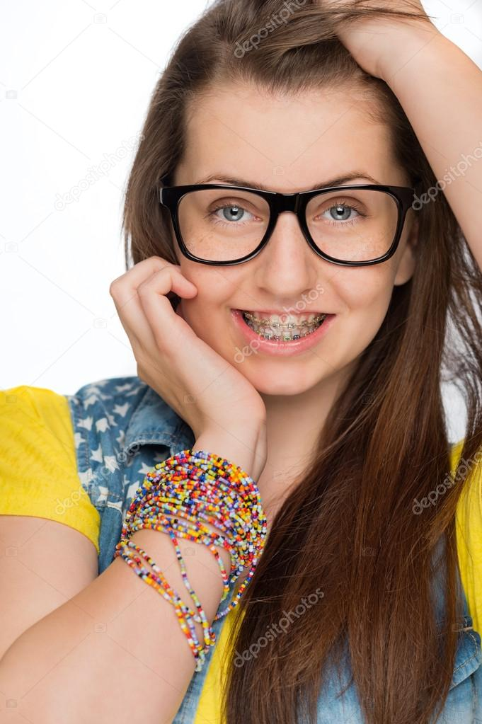 geeky girl with braces