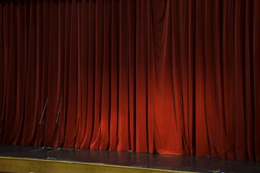 Lighted up red stage curtain