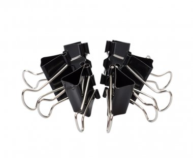 Black clerical clips for paper