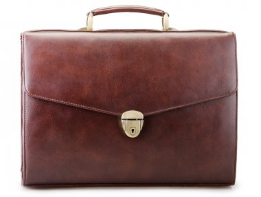 Brown leather briefcase isolated