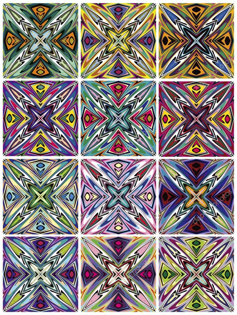 Set Of Seamless Native American Vector Patterns Stock Vector