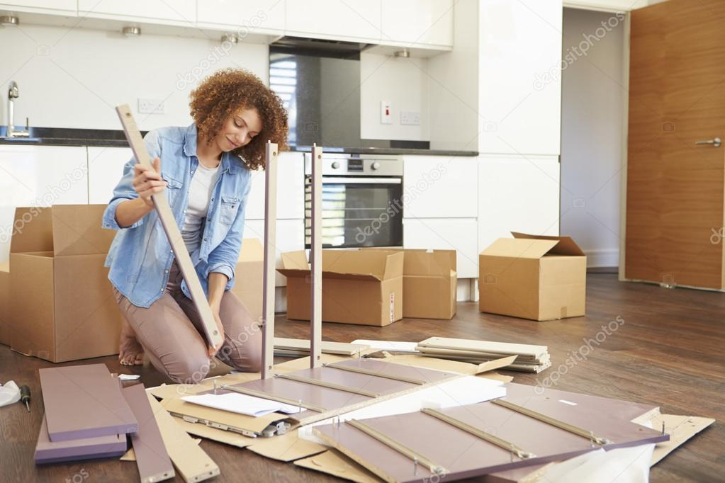 Woman Putting Together Self Assembly Furniture U2014 Stock Photo