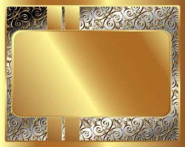 Metal frame with pattern with gold plate