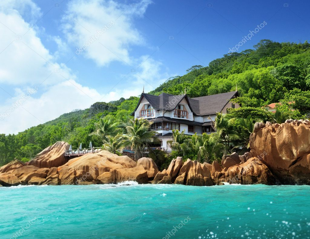 Hotel on tropical beach, La Digue, Seychelles