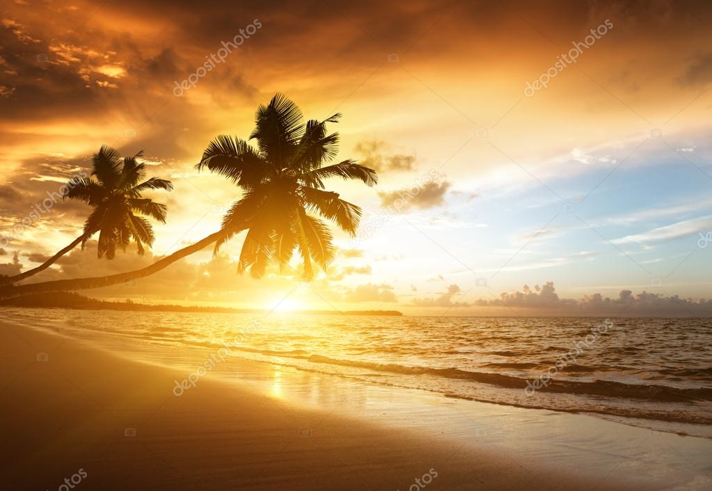 sunset on the beach of caribbean sea