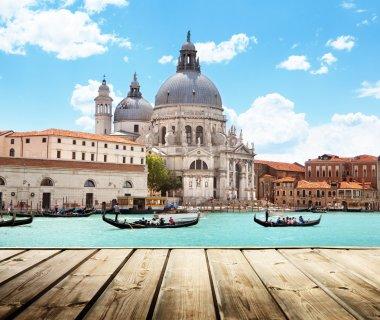 Basilica Santa Maria della Salute, Venice, Italy and wooden surf