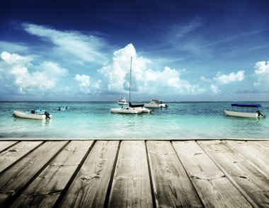 Caribbean beach and yachts