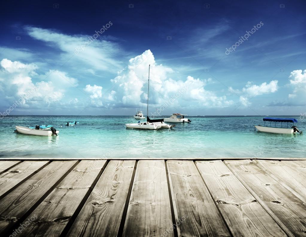 Caribbean beach and yachts