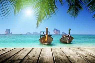 beach, boats, Andaman Sea, Thailand