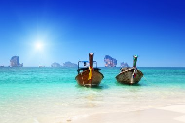 beach, boats, Andaman Sea, Thailand