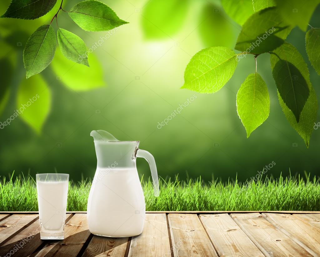 milk on table and sunny trees