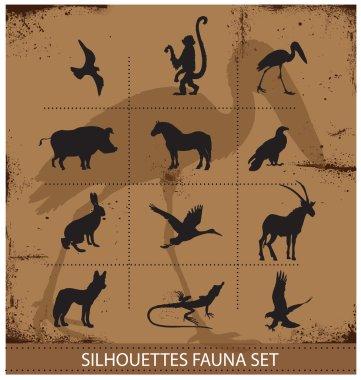 Safari fauna symbols silhouette set collection