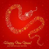 Stilisierte Chinesische Neujahrskarte Schlange hergestellt aus Schneeflocken