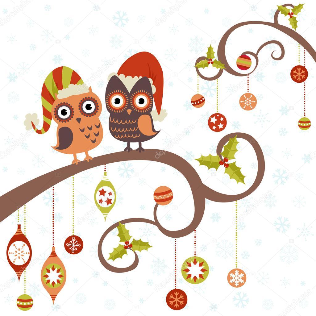 Imágenes Tecolotes Y Buhos Animados Tarjeta De Navidad De