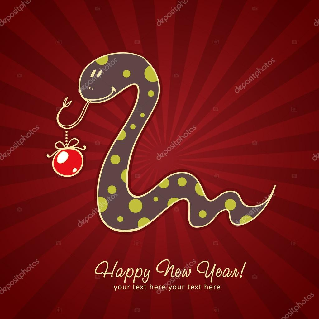 Cute New Year chinese black snake holding a toy ball