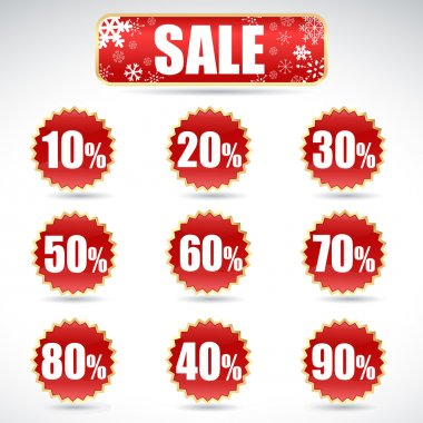 Christmas sale stickers and tags with discounts