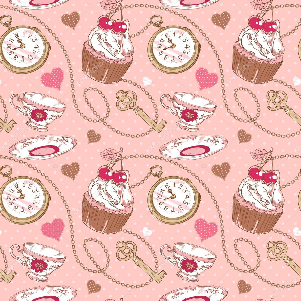 42700f285f5 amor romântico vintage padrão — Vetores de Stock © Yuzach  18913893