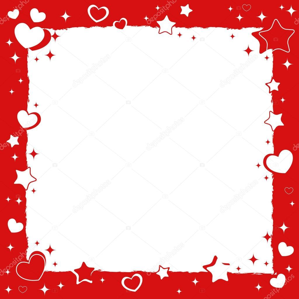 marco romántico de amor de San Valentín con corazones y estrellas ...