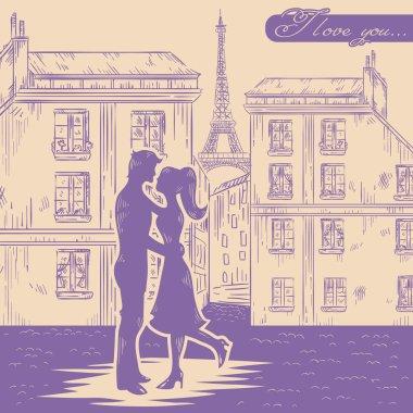 Romantic Valentine retro postcard with happy couple in love on Paris street background clip art vector