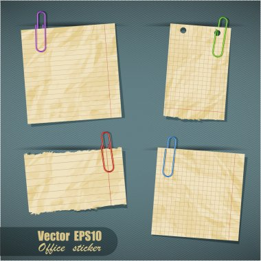 Set of realistic scraps of paper with clips isolated