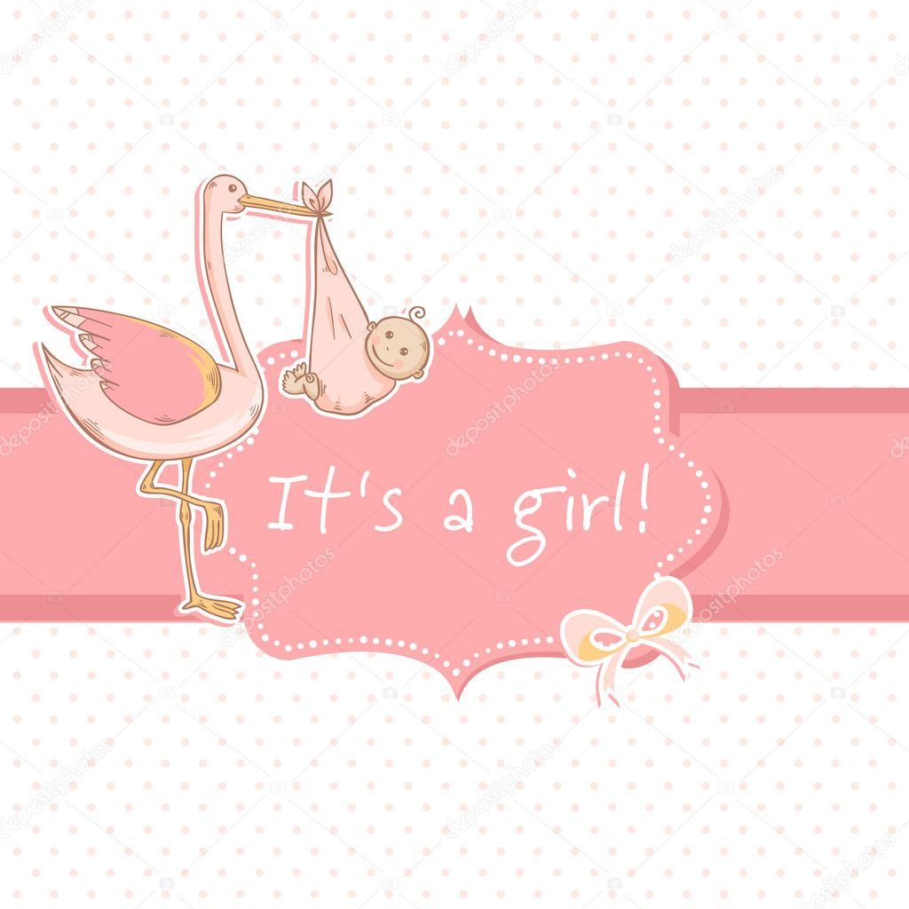 cute baby girl announcement card with stork and child stock vector