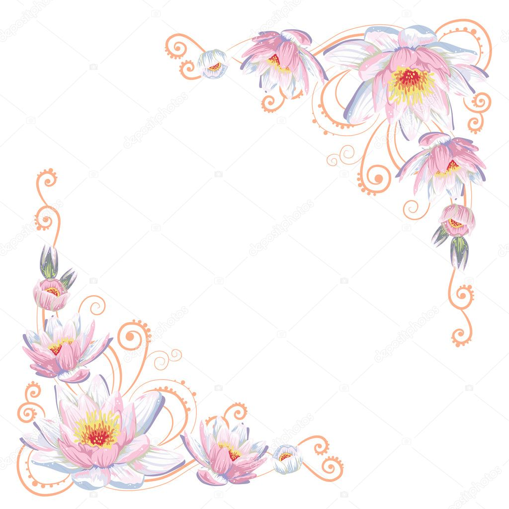 Elegant curves flower corners isolated