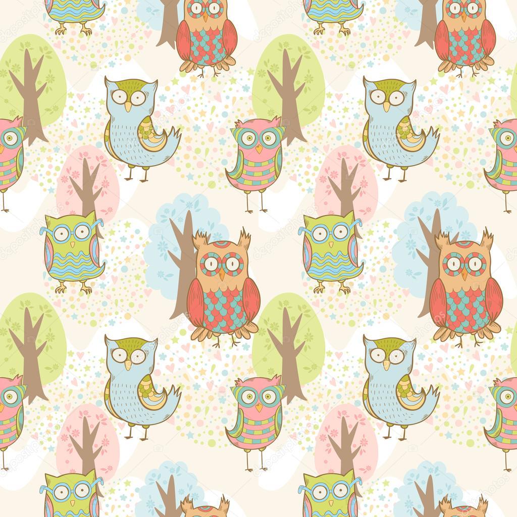 Cute cartoon owls fantasy coloful pattern