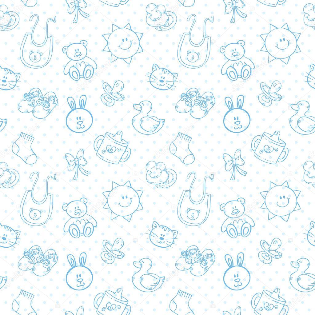 Caricatura lindo bebé juguetes conjunto de patrones sin fisuras ...