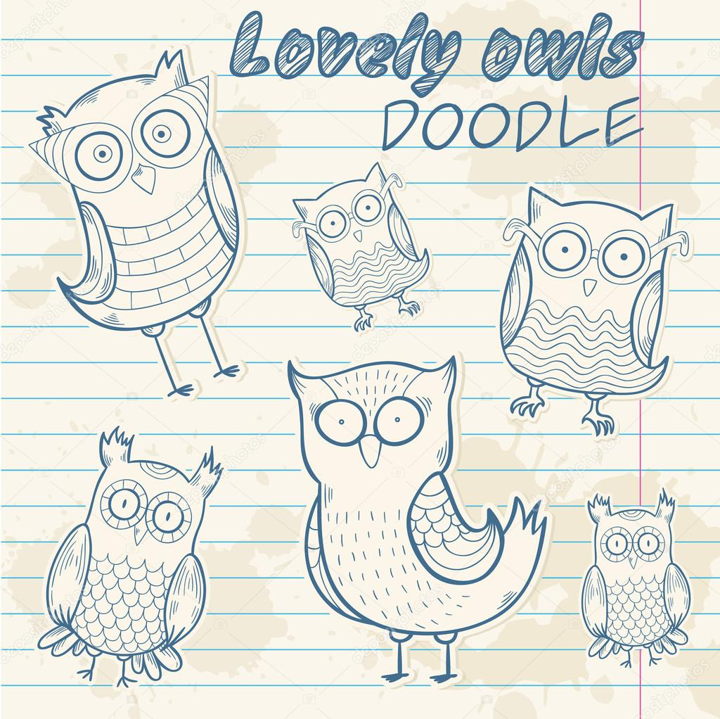 Cute cartoon owl stylish sticker doodle