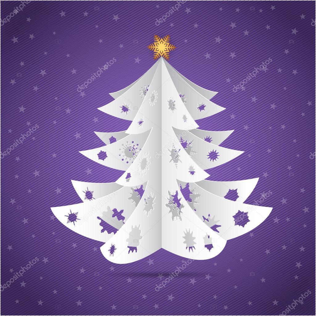 papírové origami vánoční stromek pohlednice — Stock Vektor ... - photo#5