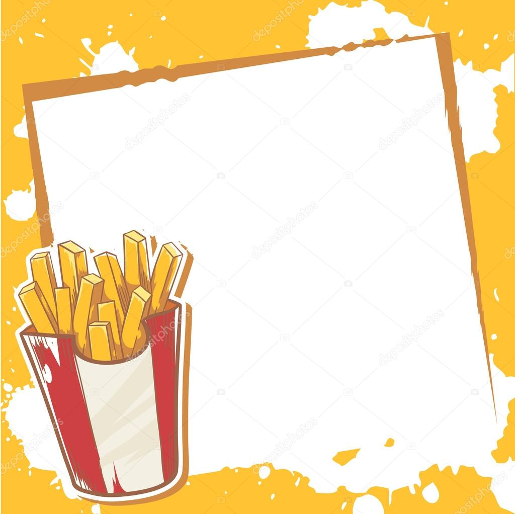 Advertisement invitation card with french fries stock vector advertisement invitation card with delicious french fries vector by yuzach stopboris Image collections