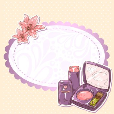 Skincare make-up blusher, eye-shadow and lipstick isolated card