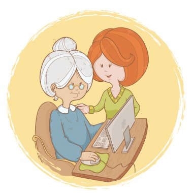 Granny learns the computer use with help of girl
