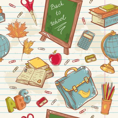 Back to school seamless pattern with various study items