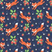 Fotografia volpi e fragoline seamless pattern