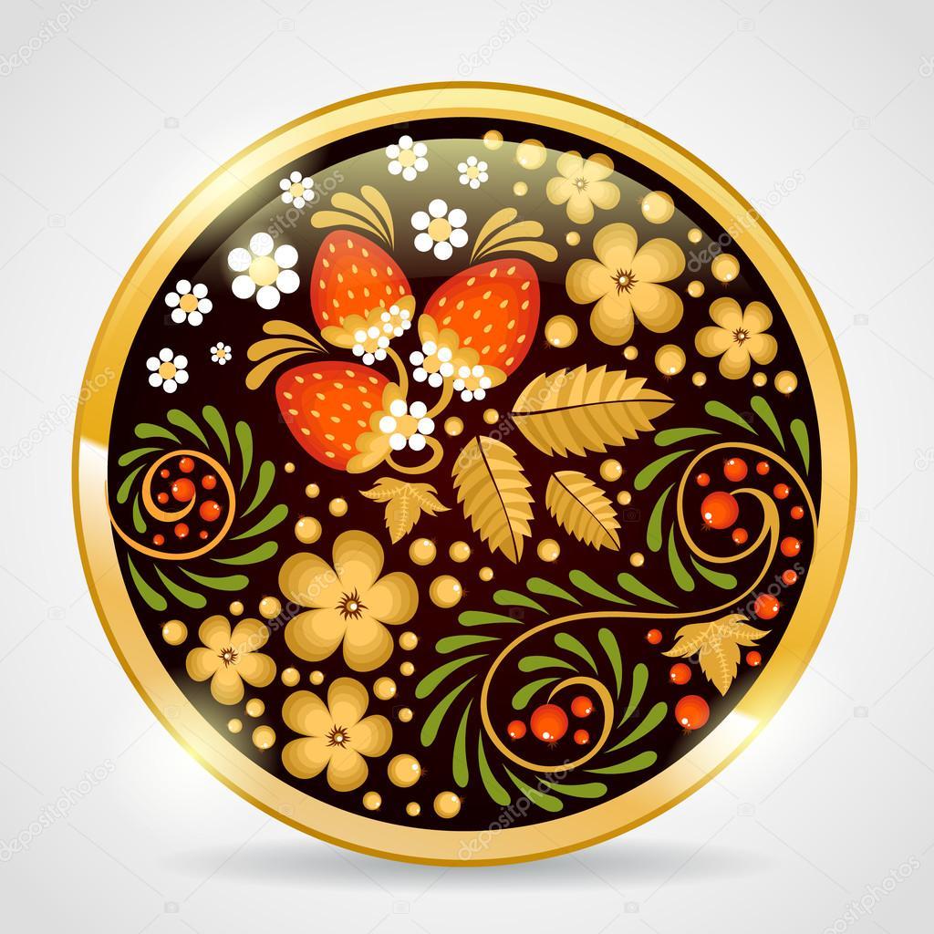 Decorative khokhloma golden pendant