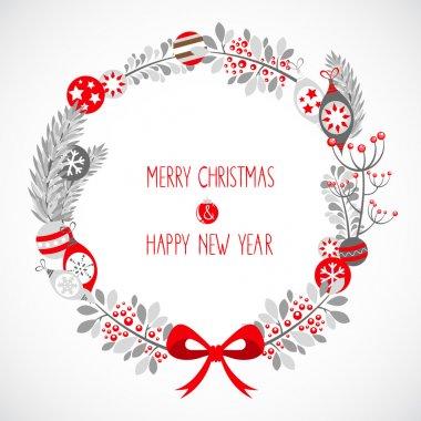 Decorative Christmas wreath celebration postcard