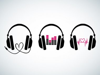 Creative music headphones logo set