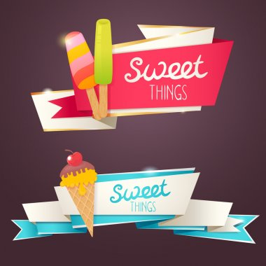 Delicious sweet set of glittering and sparkling banners