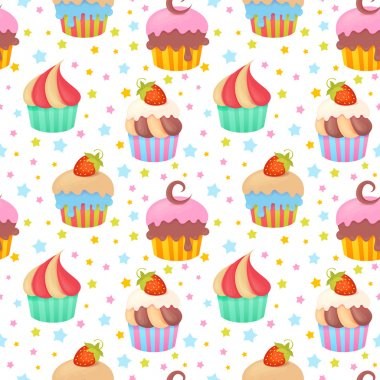 Cute colorful seamless pattern with delicious muffins and cupcakes stock vector