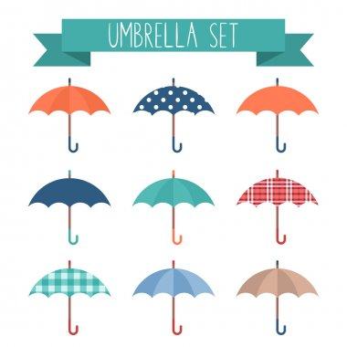 Set of cute flat style autumn umbrellas