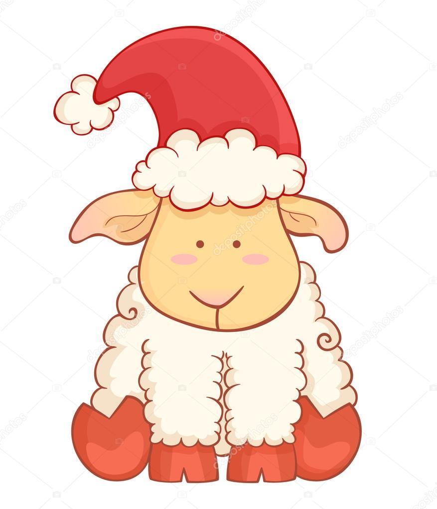 Mouton de b b mignon dessin anim portant bonnet de noel - Mouton dessin anime ...