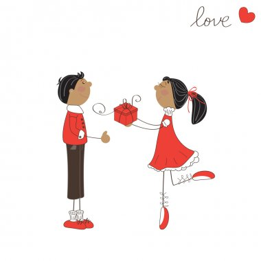 Cute girl give gift to the boy. Valentine day illustration